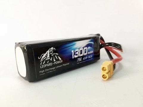 Leopard Power 1300mAh 75C 4S 14.8V LiPo battery