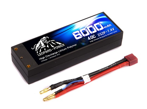 Leopard Power hard case 6000mAh 40C 2S2P 7.4V LiPo battery